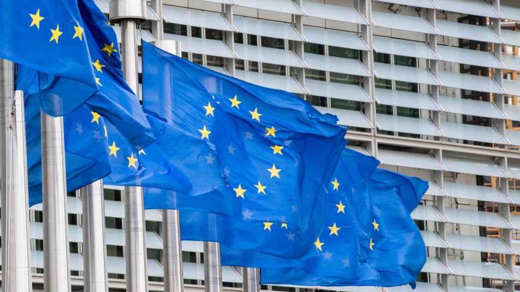 Banderas de la Unión Europea en Bruselas.