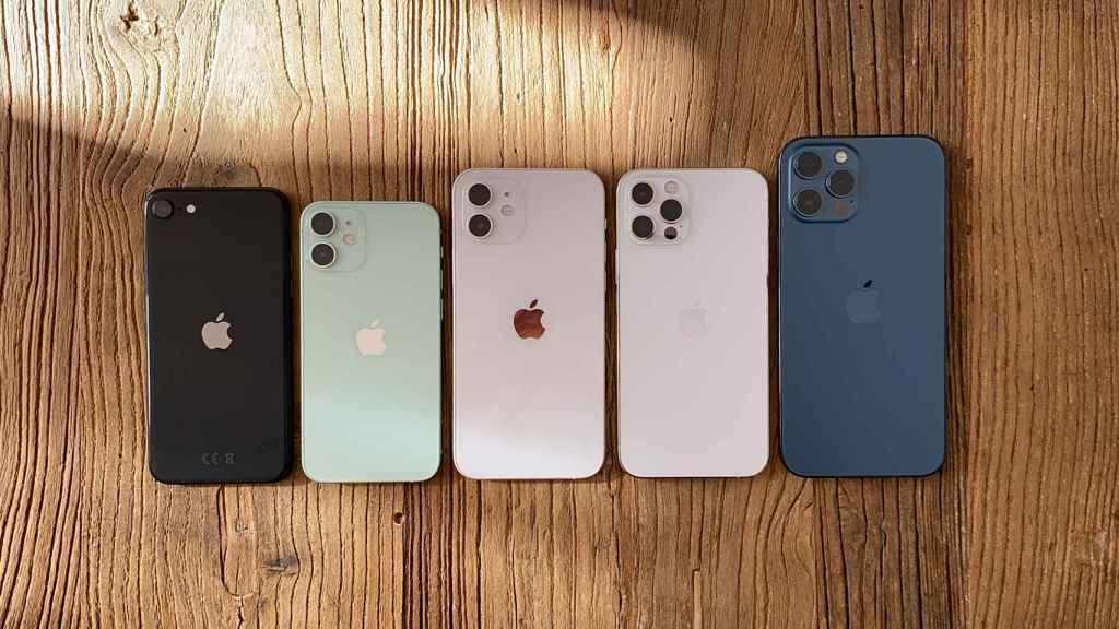 Los iPhone de 2020: SE, 12 mini, 12, 12 Pro y 12 Pro Max.