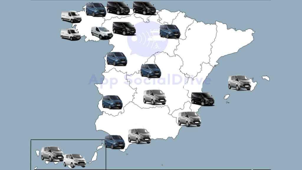 Mapa de las furgonetas de la DGT.