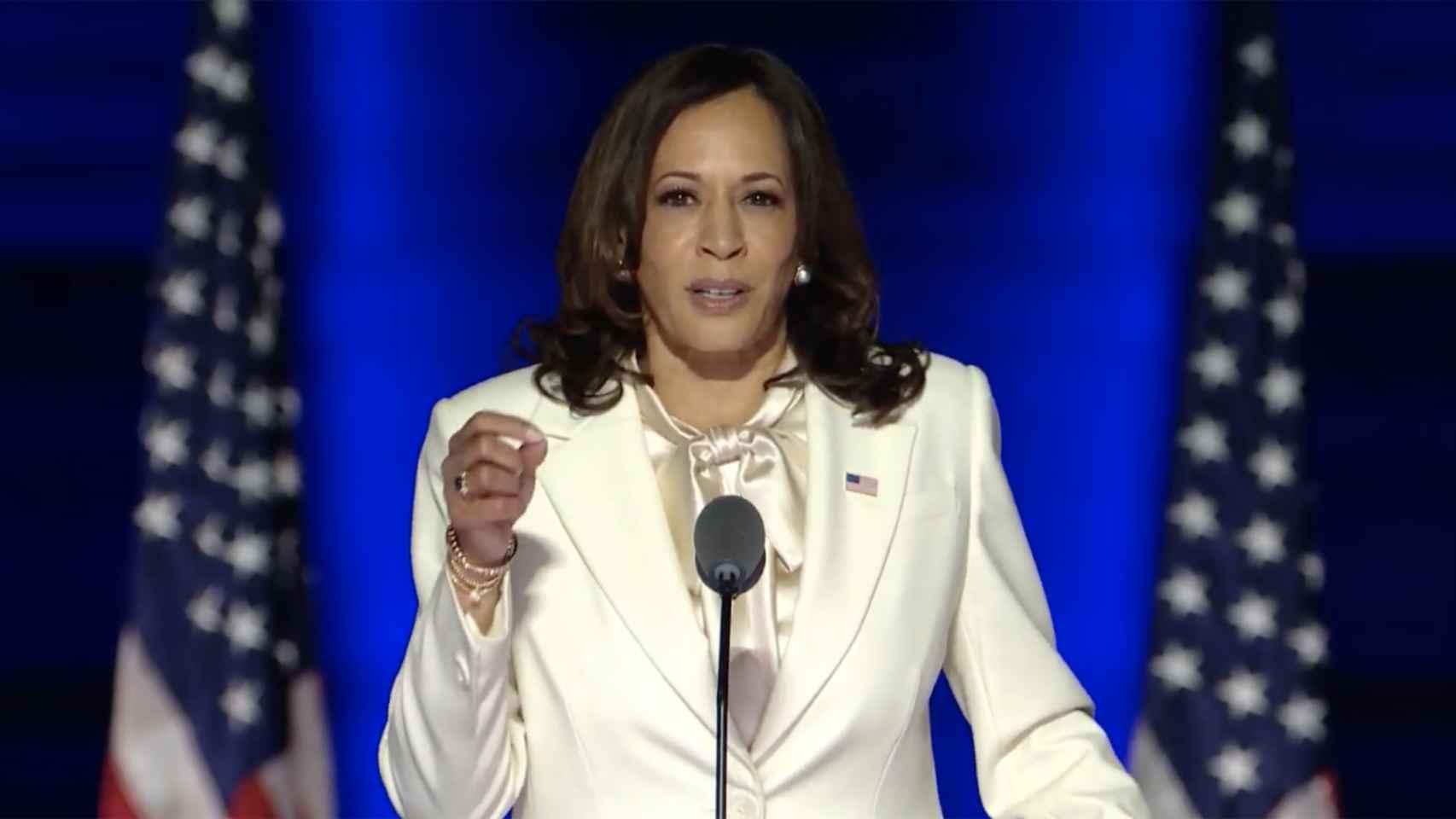 Kamala Harris, durante su primer discurso como vicepresidenta.