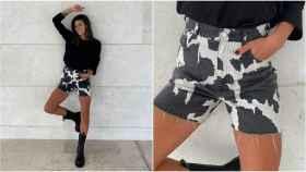 Laura Matamoros con 'shorts' estampados de Zara.