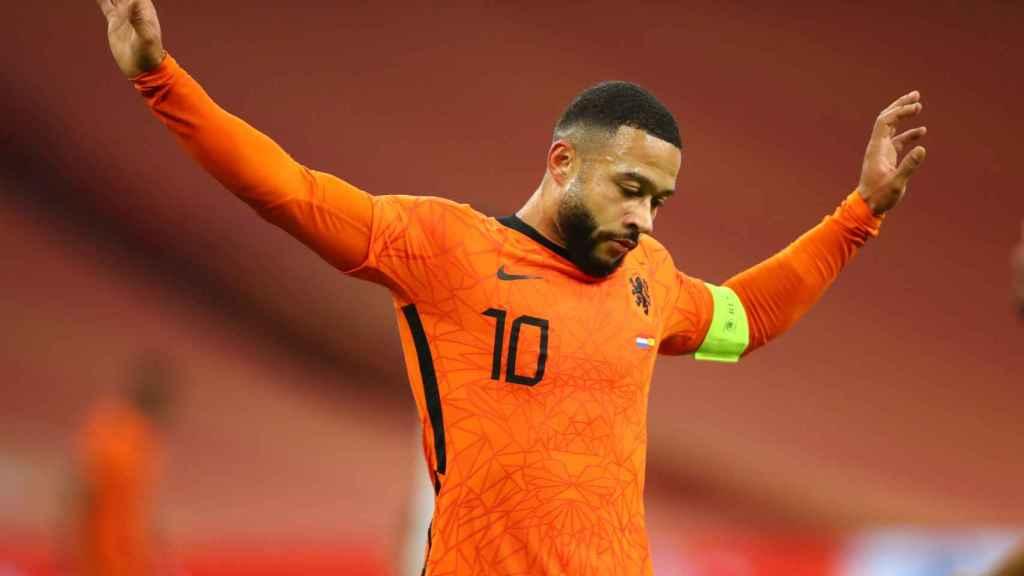 Memphis Depay, en un partido de la selección de Holanda