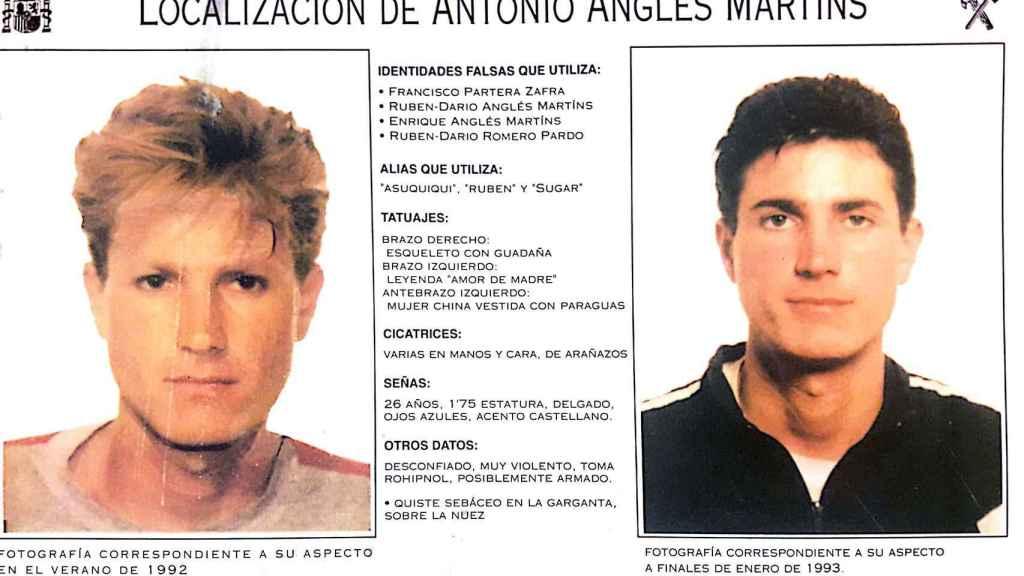Cartel de Antonio Anglés difundido por la Interpol.