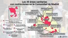 Estas son las 30 zonas sanitarias restringidas en Madrid desde el viernes.