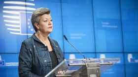 La comisaria de Interior, Ilva Johansson, durante la rueda de prensa de este viernes