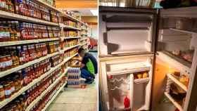 A la izquierda, una tienda llena en Caracas, capital de Venezuela, y a la derecha un frigorífico vacío.