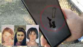 Vicente muestra en Piles las fotos que hizo con su móvil de los huesos que halló. Abajo, Desirée, Miriam y Toñi, de izquierda a derecha.