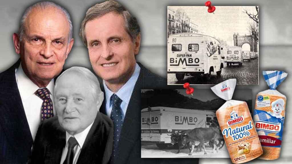 Los fundadores de Bimbo, Lorenzo Servitje y Jaime Jorba; y la segunda generación al frente de la empresa, Daniel Servitje.