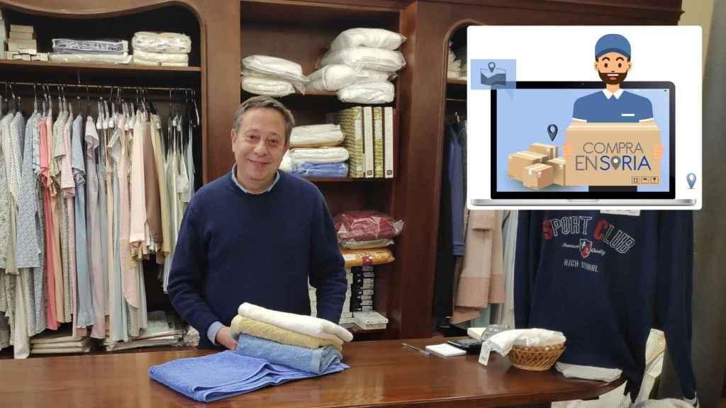 Adolfo Sainz, vendedor de ropa y vicepresidente de la FECSoria, uno de los comerciantes promotores de Compraensoria.com.