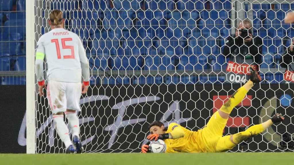 Penalti fallado de Sergio Ramos en el Suiza - España de la UEFA Nations League