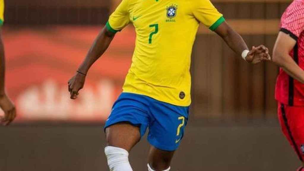 Rodrygo Goes, en un partido de la selección olímpica de Brasil. Foto. Instagram (@rodrygogoes)