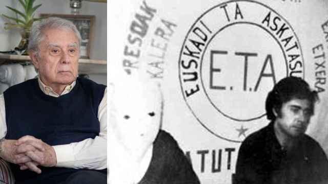 Javier Rupérez, durante la entrevista y cuando fue secuestrado por ETA en 1979.