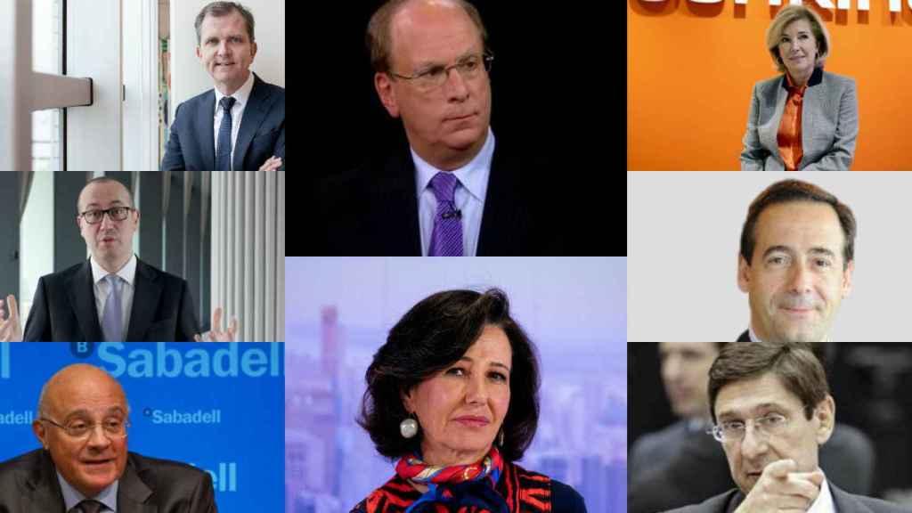 Roel Huisman, Onur Genç, Josep Oliu, Larry Fink, Ana Botín, María Dolores Dancausa, Gonzalo Gortázar y José Ignacio Goirigolzarri.