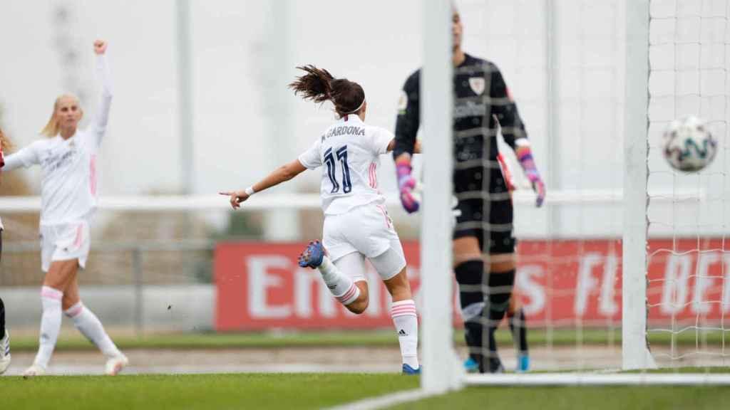 Marta Cardona celebra su gol ante el Athletic Club. Foto: Twitter (@realmadridfem)