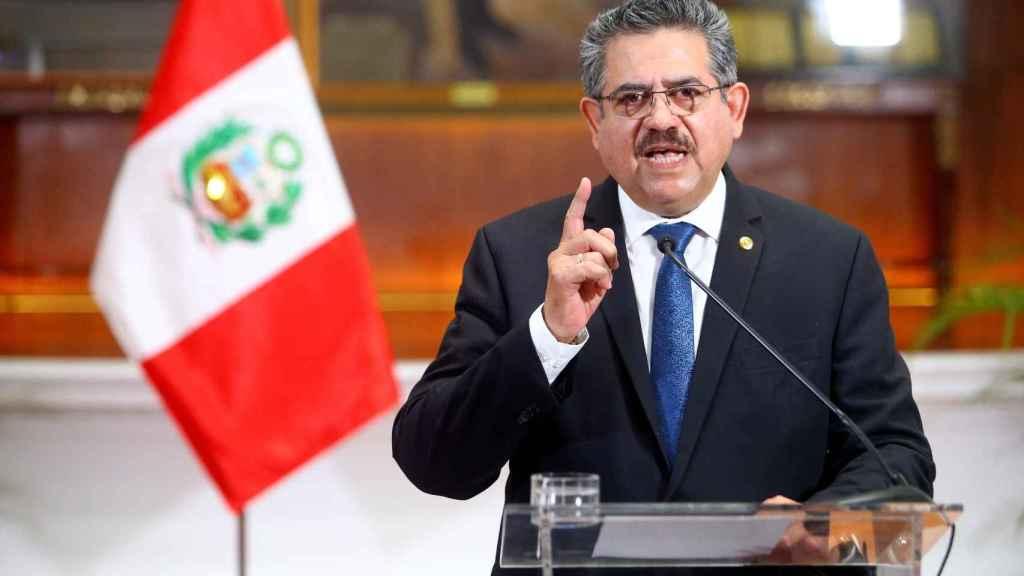 Manuel Merino, en su renuncia televisada.