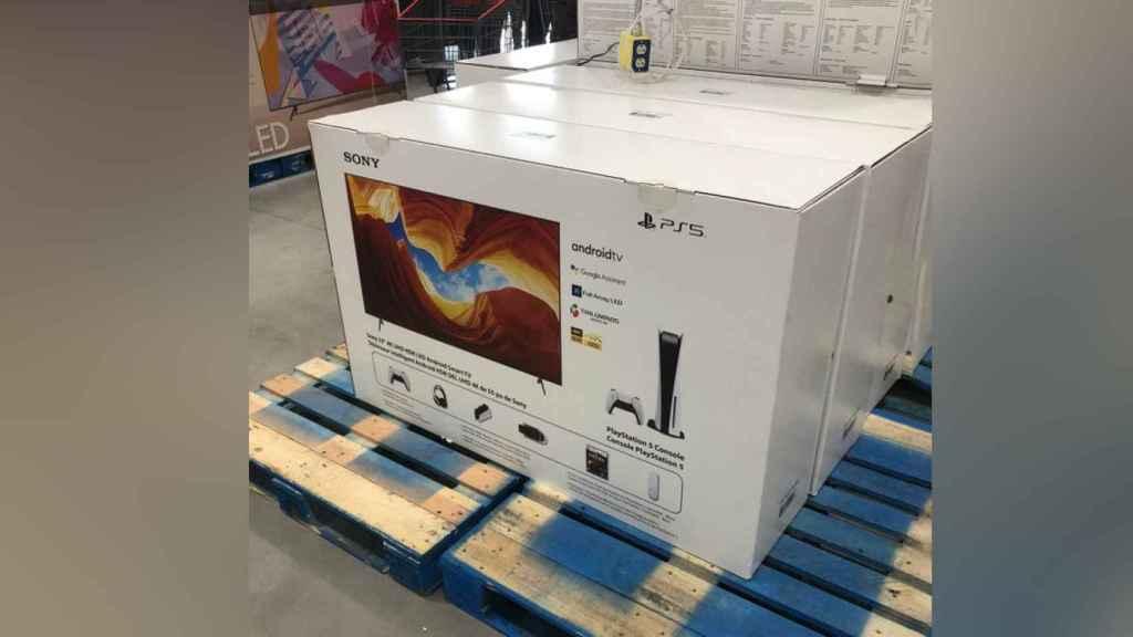 Pack de PS5 con accesorios, juegos y televisor.
