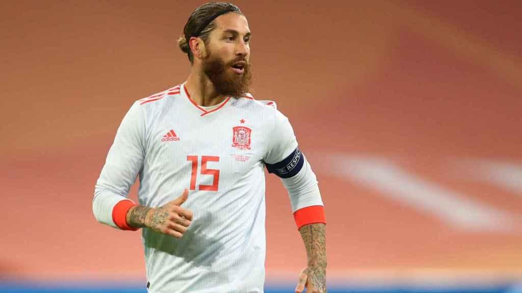 Sergio Ramos, durante el partido entre España y Países Bajos