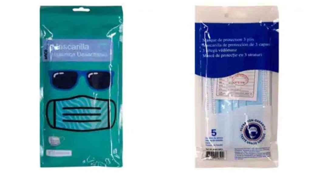 A la izquierda, el pack de cinco mascarillas de la marca Inca y, a la derecha, el mismo pack de Auchan, ambos vendidos por 1 euro en Alcampo.