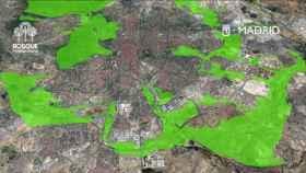 En verde, las áreas de actuación del proyecto Bosque Metropolitano del Ayuntamiento de Madrid.