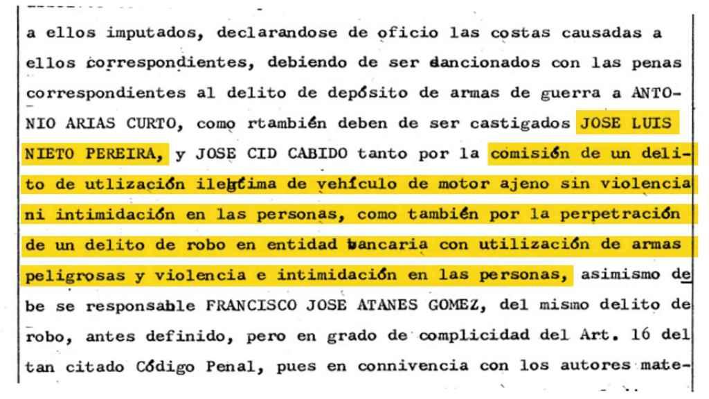 Sentencia condenatoria contra Luis Nieto, en 1983.