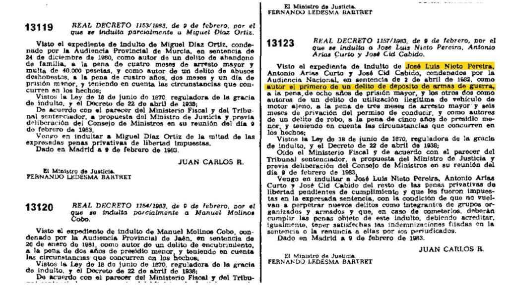 Indulto de Luis Nieto en el que se destaca un delito de depósito de armas de guerra.