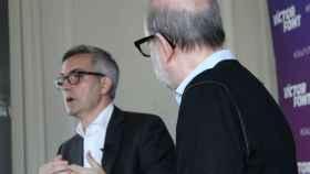 Víctor Font, junto a Antoni Bassas, su número dos en la candidatura a la presidencia del Barça. Foto: Twitter (@sialfutur)