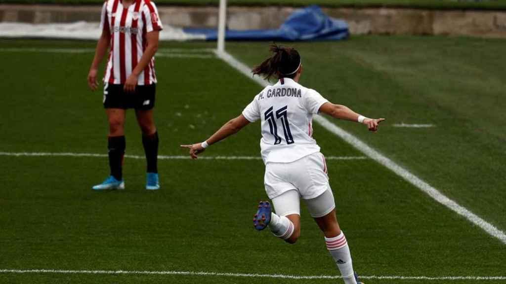 Marta Cardona celebra su gol ante el Athletic en la Primera Iberdrola con el Real Madrid Femenino
