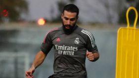 Dani Carvajal, en un entrenamiento del Real Madrid