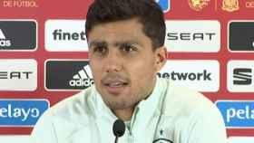 Rodri, en rueda de prensa de la selección española de fútbol