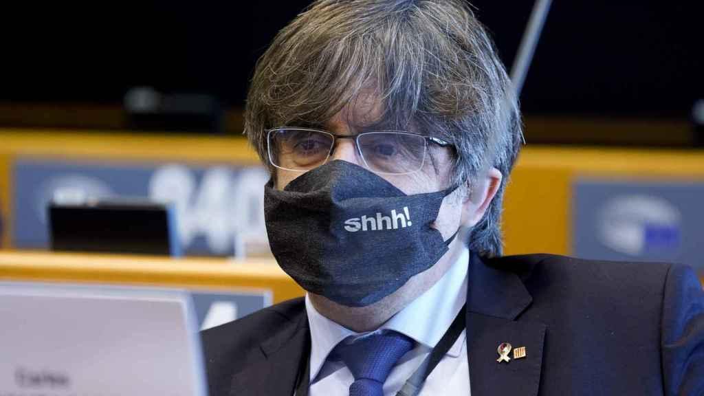 El eurodiputado Carles Puigdemont, durante un pleno en el Parlamento Europeo