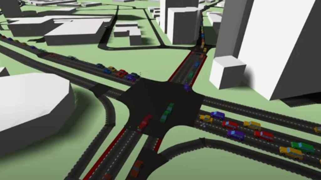 Simulación en 3D de los cruces de Salford.