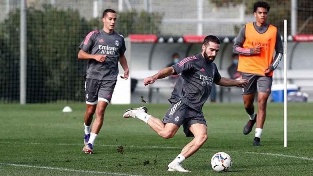 Lucas Vázquez, Dani Carvajal y Marvin Park, durante un entrenamiento del Real Madrid