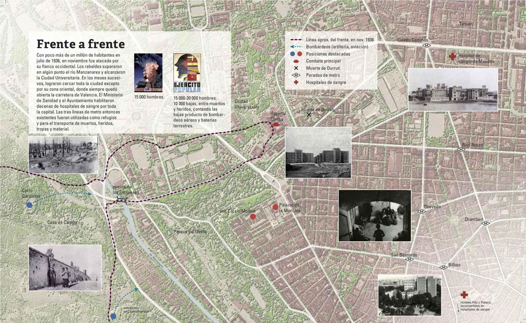 Plano de Madrid en los primeros movimientos de la ofensiva franquista.