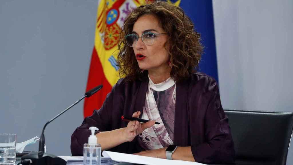 La ministra de Hacienda, María Jesús Montero, este martes en el Palacio de la Moncloa.