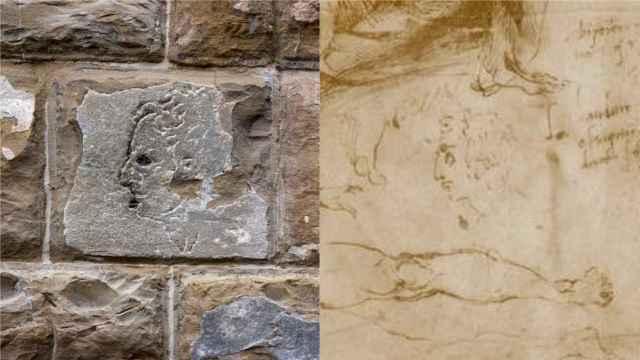 El grabado del Palazzo Vecchio, en Florencia, y el dibujo conservado en el Louvre.