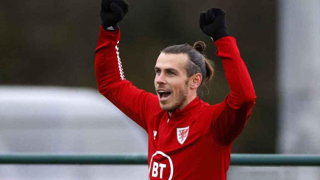 Gareth Bale, en un entrenamiento de la selección de Gales
