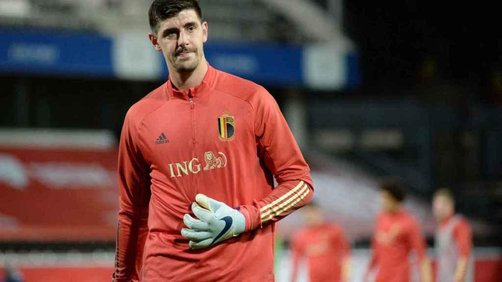 Thibaut Courtois, durante un entrenamiento con la selección de Bélgica