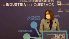 La consejera de Economía y Empleo, Patricia Franco, este lunes en la localidad ciudadrealeña de Puertollano