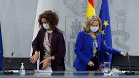 María Jesús Montero y Nadia Calviño, en la rueda de prensa posterior al Consejo de Ministros.