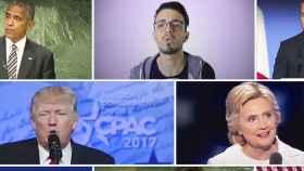 Imagen del deepfake 'Atention', con Barak Omaba, Maestro  Zikkos, Emmanuel Marcon, Trump, Hillary Clinton...