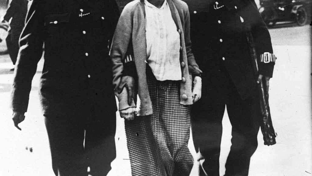 Una suffragette arrestada en 1914.