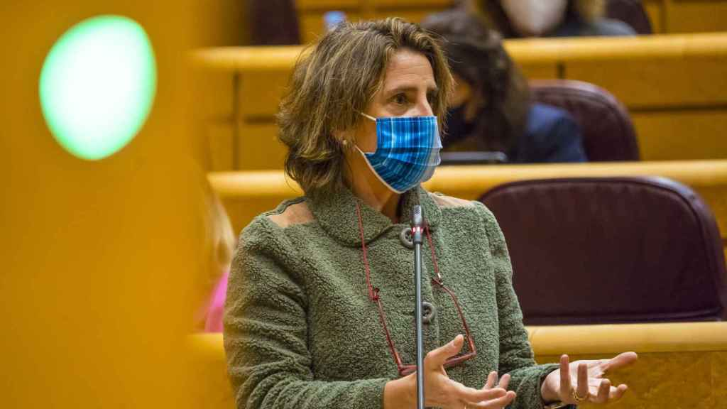La vicepresidenta y ministra para la Transición Ecológica, Teresa Ribera, en el Senado.