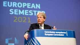 El comisario de Asuntos Económicos, Paolo Gentiloni, durante una rueda de prensa este miércoles