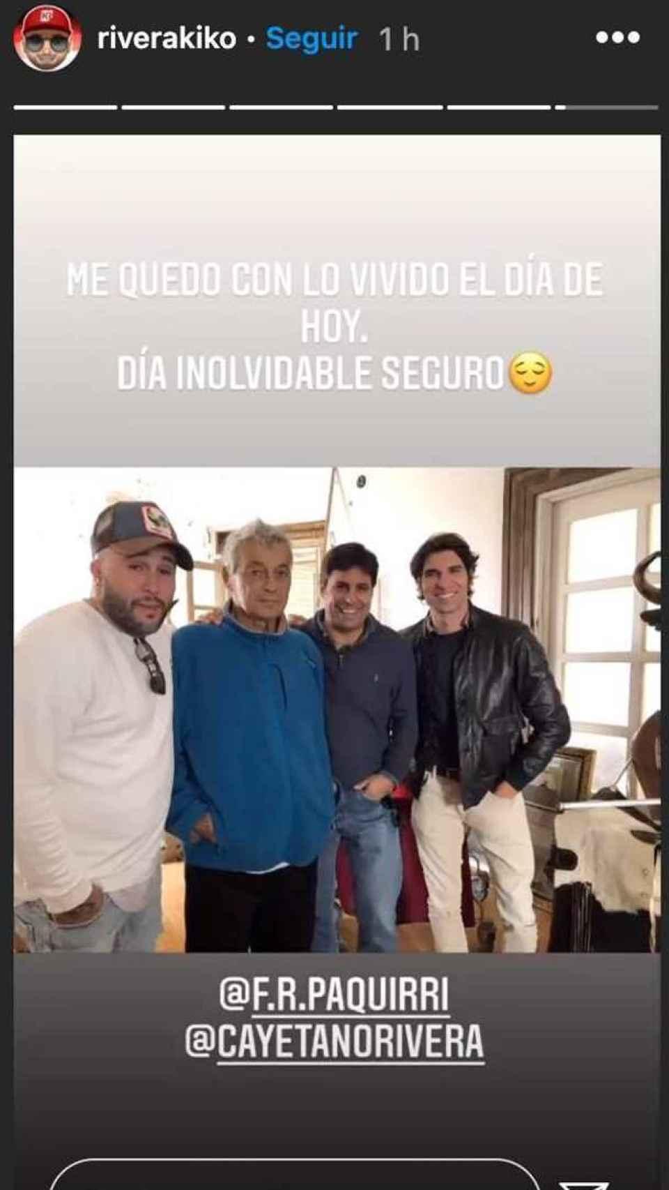 Kiko, Francisco y Cayetano Rivera junto a Riverita en una imagen publicada por el dj en Instagram.