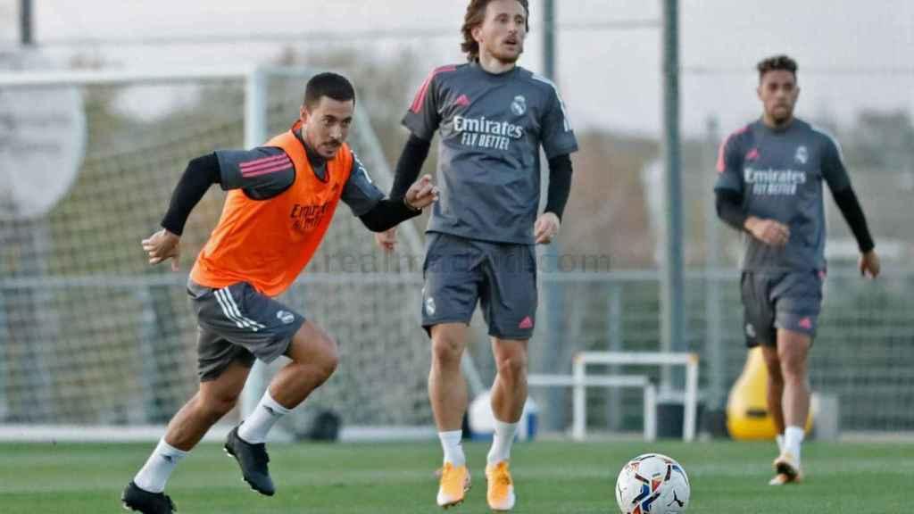 Eden Hazard, durante un entrenamiento con el Real Madrid