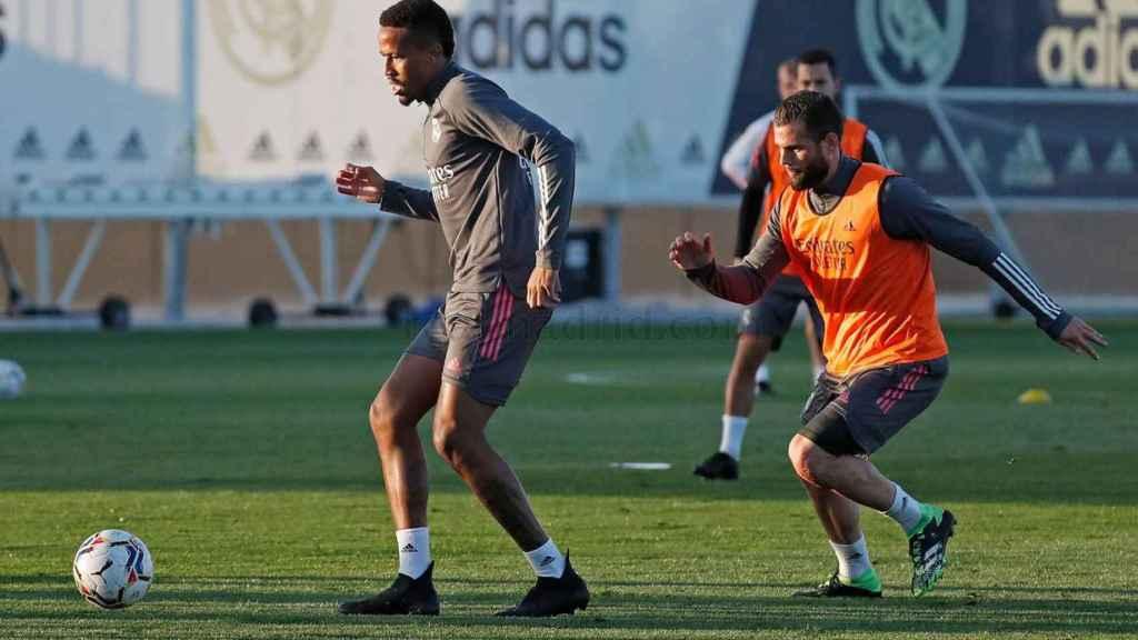 Eder Militao, durante un entrenamiento del Real Madrid