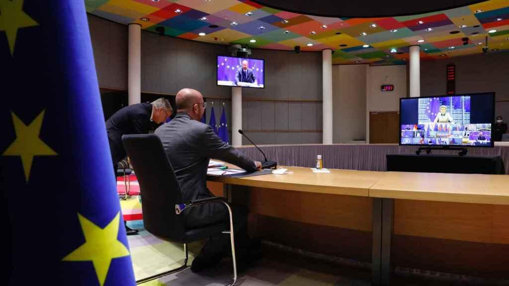 El presidente del Consejo Europeo, Charles Michel, durante la videocumbre de este jueves