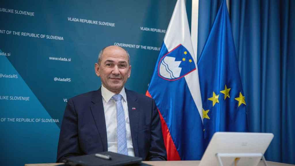El esloveno Janez Jansa, que se ha unido a Polonia y Hungría, durante la videocumbre de este jueves