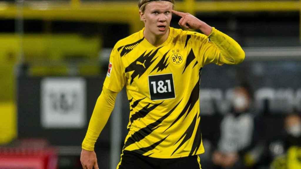 Erling Haaland, durante un partido con el Borussia Dortmund. Foto: Twitter (@BVB)