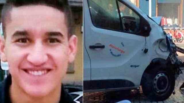 Younes Abouyaaqoub y la furgoneta que uso en el atentado del 17-A